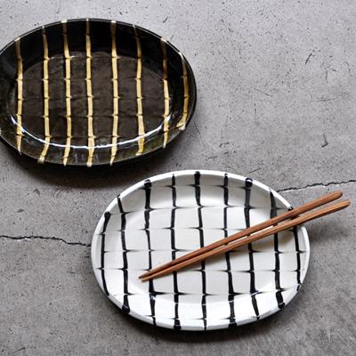 画像1: 丹窓窯 / スリップ 楕円鉢