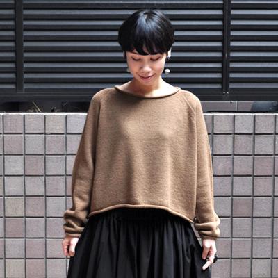 画像1: 【別注アイテム】FACTORY(ファクトリー)/ キャメル ショート丈 ロールネックセーター