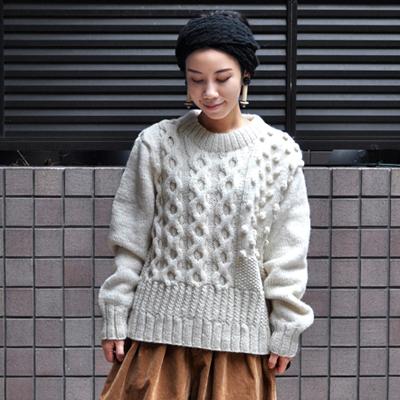 画像4: 【 SALE 30%OFF 】¥17,800→¥12,460 / HARVESTY(ハーベスティ)/ 手編みケーブルニットセーター