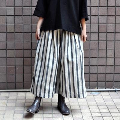 画像2: 【 SALE30%OFF 】¥8,900→¥6,230 / ICHI(イチ )/ コットンリネン ストライプパンツ