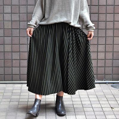 画像1: 【 SALE 】¥16,000→¥12,000 / FACTORY(ファクトリー)/ ペルー綿ボーダー サーキュラースカート