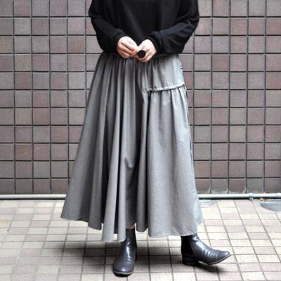 画像2: 【 SALE 】¥23,000→¥18,900 / FACTORY(ファクトリー)/ 千鳥格子 アシンメトリーサーキュラースカート(ペルーコットン)