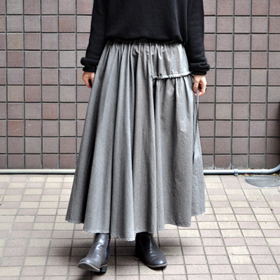 画像3: 【 SALE 】¥23,000→¥18,900 / FACTORY(ファクトリー)/ 千鳥格子 アシンメトリーサーキュラースカート(ペルーコットン)