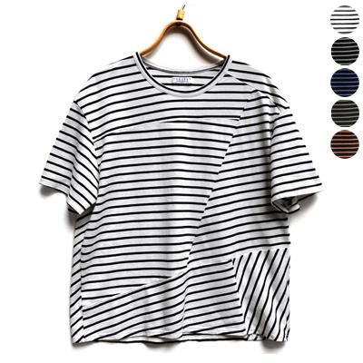 画像1: 【 SALE25%OFF 】¥11,000→¥8,250 / FACTORY(ファクトリー)/ ペルー綿ボーダー コラージュTシャツ