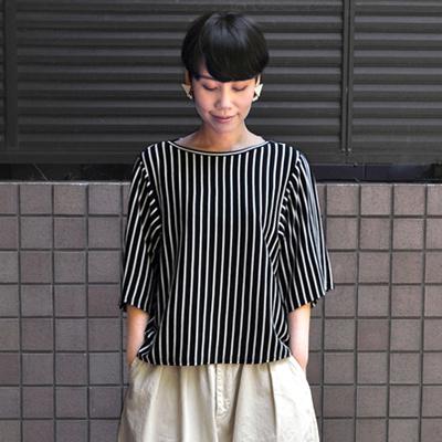 画像1: 【 SALE 】¥11,000→¥8,800 / FACTORY(ファクトリー)/ ペルー綿ボーダー バスクデザインTシャツ(5〜6分袖)
