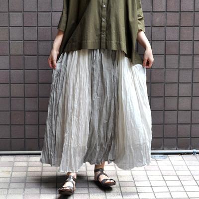 画像1: FACTORY(ファクトリー)/ シルク綿×インド綿 3TONEギャザースカート