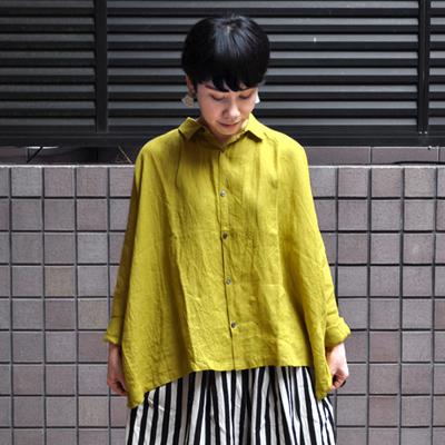 画像1: 【2019AW】ICHI Antiquite's(イチ アンティークス)/ イタリアンリネン ワイドギャザーシャツ