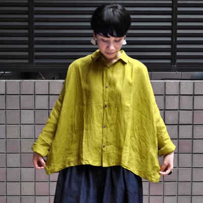 画像2: 【2019AW】ICHI Antiquite's(イチ アンティークス)/ イタリアンリネン ワイドギャザーシャツ