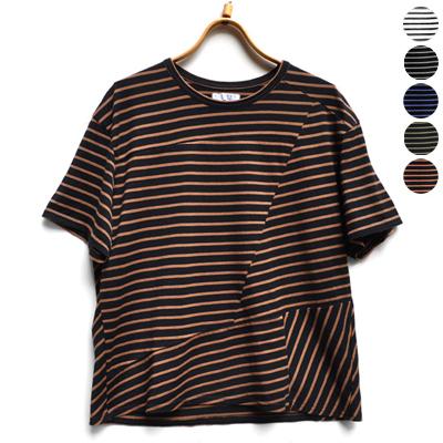 画像1: 【 SALE 】¥11,000→¥7,700 / FACTORY(ファクトリー)/ ペルー綿ボーダー コラージュTシャツ