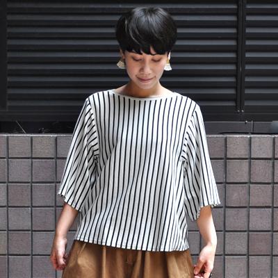 画像1: 【 SALE 】¥11,000→¥7,700 / FACTORY(ファクトリー)/ ペルー綿ボーダー バスクデザインTシャツ(5〜6分袖)