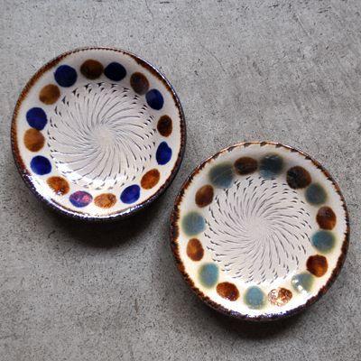 画像1: 工房マチヒコ / 5寸皿(点打ち×飛び鉋)