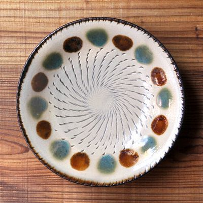 画像1: 工房マチヒコ / 7寸皿(点打ち×飛び鉋)
