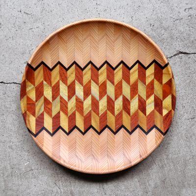 画像1: 金指勝悦 / 6.5寸 寄木盛り皿
