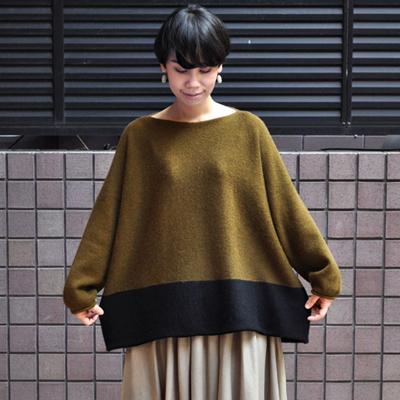 画像1: 【 SALE 】¥20,000→¥14,000 / FACTORY(ファクトリー)/ キャメル100% 2トーンセーター