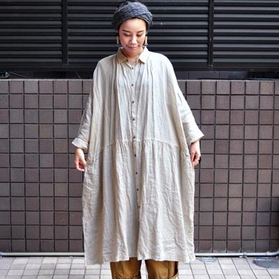 画像5: 【2020SS】ICHI Antiquite's(イチ アンティークス)/ カラーリネン ワイドギャザーシャツワンピース