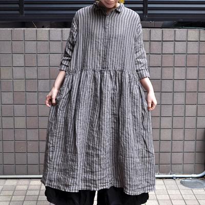 画像3: 【 SALE20%OFF 】¥20,000→¥16,000 / ICHI Antiquite's(イチ アンティークス)/ リネンストライプオーバーダイ シャツワンピース
