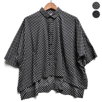 画像1: FACTORY(ファクトリー)/ ペルー綿ドット カジュアルワイド半袖シャツ(約5〜6分袖)