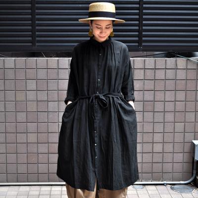 画像3: 【 SALE30%OFF 】¥19,000→¥13,300 / ICHI Antiquite's(イチ アンティークス)/ コットンリネン ブラックシャツワンピース