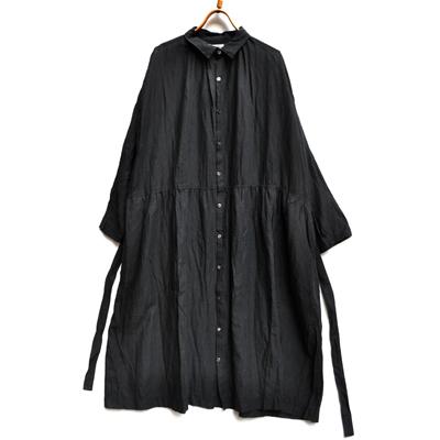 画像4: 【 SALE30%OFF 】¥19,000→¥13,300 / ICHI Antiquite's(イチ アンティークス)/ コットンリネン ブラックシャツワンピース