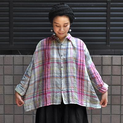 画像3: 【2020AW】ICHI Antiquite's(イチ アンティークス)/ リネン マルチカラーチェック ワイドギャザーシャツ