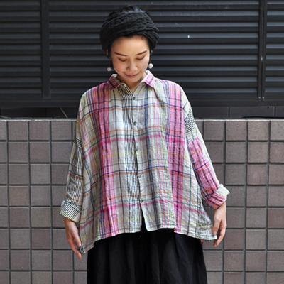 画像4: 【2020AW】ICHI Antiquite's(イチ アンティークス)/ リネン マルチカラーチェック ワイドギャザーシャツ