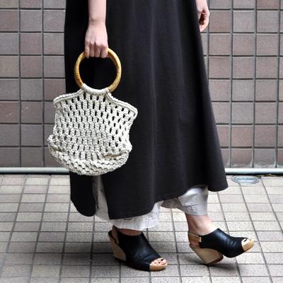 画像1: ラタンハンドル マクラメ編みバッグ