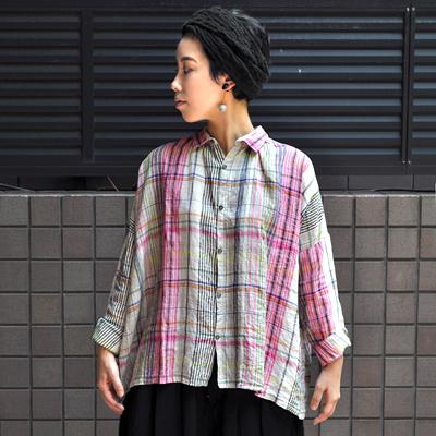 画像1: 【2020AW】ICHI Antiquite's(イチ アンティークス)/ リネン マルチカラーチェック ワイドギャザーシャツ