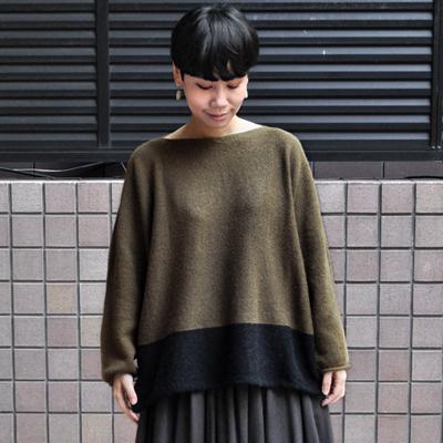 画像1: 【 SALE30%OFF】¥20,000→¥14,000 / FACTORY(ファクトリー)/ キャメル100% 2トーンセーター