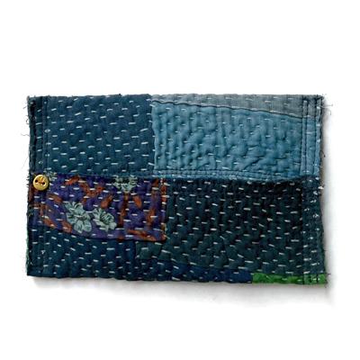 画像1: vintage kantha Pocket tissue cover / ヴィンテージカンタ ポケットティッシュカバー(藍染)
