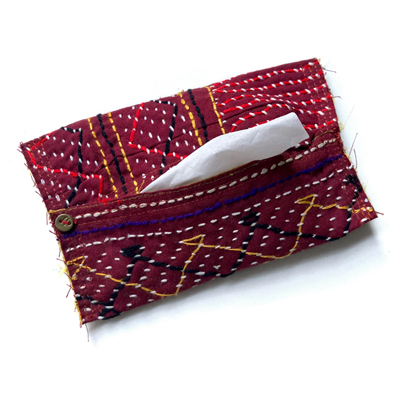 画像1: cotton kantha Pocket tissue cover / コットンカンタ ポケットティッシュカバー