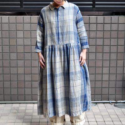 画像3: 【2021SS】 ICHI Antiquite's(イチ アンティークス)/ インディゴリネンチェックドレス