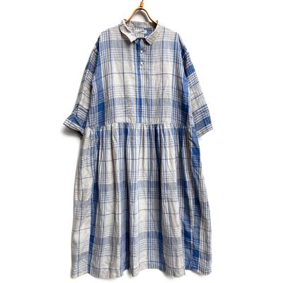 画像2: 【2021SS】 ICHI Antiquite's(イチ アンティークス)/ インディゴリネンチェックドレス