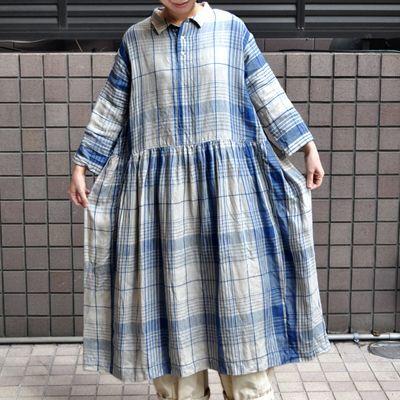 画像1: 【2021SS】 ICHI Antiquite's(イチ アンティークス)/ インディゴリネンチェックドレス