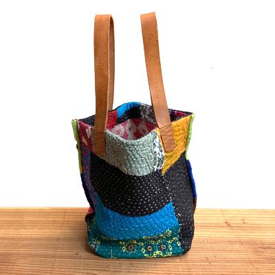 画像4: vintage kantha ralli quilt bag / ヴィンテージカンタ ラリーキルト スクエアバッグ・S