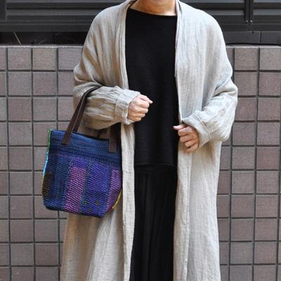 画像1: vintage kantha ralli quilt bag / ヴィンテージカンタ ラリーキルト トートバッグ( S・藍染 )