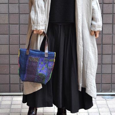 画像2: vintage kantha ralli quilt bag / ヴィンテージカンタ ラリーキルト トートバッグ( S・藍染 )