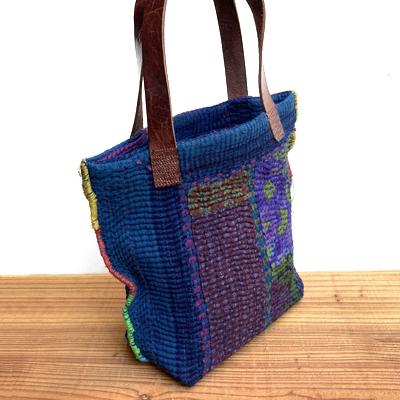 画像3: vintage kantha ralli quilt bag / ヴィンテージカンタ ラリーキルト トートバッグ( S・藍染 )