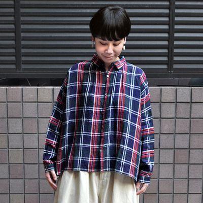 画像3: 【2021SS】ICHI Antiquite's(イチ アンティークス)/ リネンタータンチェック ギャザーシャツ