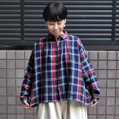画像2: 【2021SS】ICHI Antiquite's(イチ アンティークス)/ リネンタータンチェック ギャザーシャツ