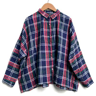 画像1: 【2021SS】ICHI Antiquite's(イチ アンティークス)/ リネンタータンチェック ギャザーシャツ