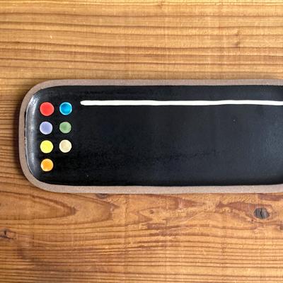 画像1: 一翠窯 / たたら長方皿(長)・黒釉ドット