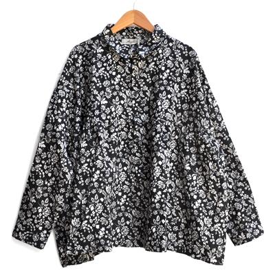 画像1: ICHI Antiquite's(イチ アンティークス)/ リネンフラワー ワイドギャザーシャツ