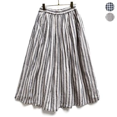 画像3: 【2021AW】ICHI Antiquite's(イチ アンティークス)/ 東炊きリネン ギンガム/ストライプ スカート