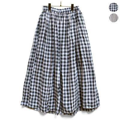 画像4: 【2021AW】ICHI Antiquite's(イチ アンティークス)/ 東炊きリネン ギンガム/ストライプ スカート