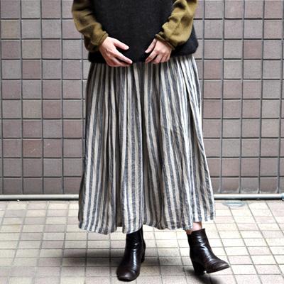 画像1: 【2021AW】ICHI Antiquite's(イチ アンティークス)/ 東炊きリネン ギンガム/ストライプ スカート